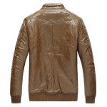 cheap Zippered Rib Cuff Pocket Faux Leather Padded Jacket