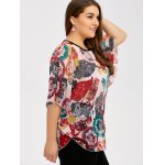 Plus Size Batwing Sleeve Colorful Patterned Blouse deal