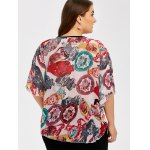 Plus Size Batwing Sleeve Colorful Patterned Blouse for sale
