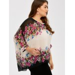 Plus Size Batwing Sleeve See Thru Blouse deal