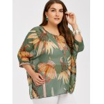 cheap Plus Size Feather Print See Thru Blouse