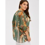 Plus Size Feather Print See Thru Blouse deal