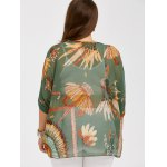 Plus Size Feather Print See Thru Blouse for sale