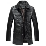 cheap Zippered Faux Fur Collar Flocking PU Leather Coat