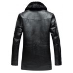 Zippered Faux Fur Collar Flocking PU Leather Coat deal