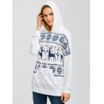 cheap Drawstring Moose Fair Isle Hoodie