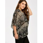 cheap Plus Size V Neck Ethnic Print Blouse