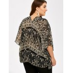 Plus Size V Neck Ethnic Print Blouse for sale