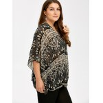 Plus Size V Neck Ethnic Print Blouse deal