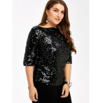 cheap Plus Size Sequined Short Sleeve Tee