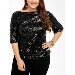 Plus Size Sequined Short Sleeve Tee