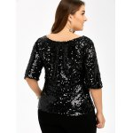 Plus Size Short Sleeve Sequined T-Shirt for sale