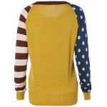 cheap Polka Dot and Striped Sleeve Sweater