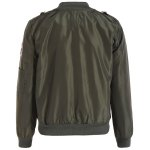 cheap Zip Up Patched Bomber Jacket
