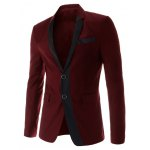 Stylish Lapel Color Block Splicing Slimming Long Sleeve Cotton Blend Blazer For Men