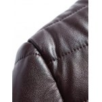 cheap Stand Collar Plus Size PU Leather Zip Up Down Jacket