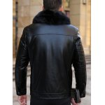 Detachable Faux Fur Collar Plus Size Flocking PU Leather Jacket deal