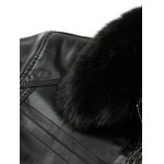 Detachable Faux Fur Collar Plus Size Flocking PU Leather Jacket for sale