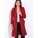 Wool Blend Double-Breasted Long Trench Coatwith Belt photo