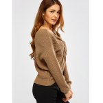 cheap Twist Front Navel Baring V Neck Sweater