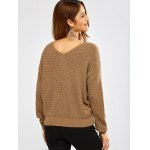 Twist Front Navel Baring V Neck Sweater deal