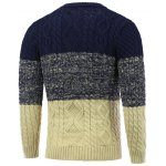 cheap Crew Neck Color Block Cable Knitted Sweater