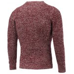 cheap Crew Neck Heather Ribbed Knitted Pullover Sweater