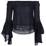 cheap Lace Bell Sleeve Blouse