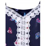 Butterfly Print Lace Panel Blouse for sale
