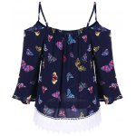 cheap Butterfly Print Lace Panel Blouse