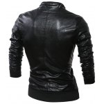Double Sided Wear Paneled Faux Leather Zip Up Jacket for sale