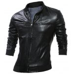 Double Sided Wear Paneled Faux Leather Zip Up Jacket deal