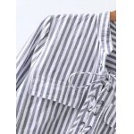 Long Sleeve High Low Striped Shirt deal