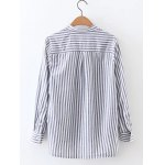 cheap Long Sleeve High Low Striped Shirt
