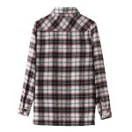 cheap Embroidered Plaid Long Sleeve Shirt