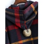 Hooded Plaid Woolen Coat for sale