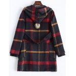 cheap Hooded Plaid Woolen Coat