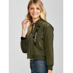 Zip Up Cropped Thin Bomber Jacket deal