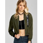 cheap Zip Up Cropped Thin Bomber Jacket