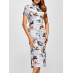 Retro Buildings Painting Side Slit Chinese Dress
