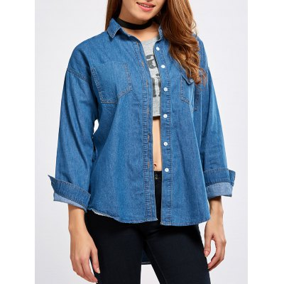 Pocket Embroidery Denim Shirt