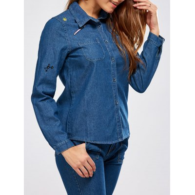 Graphic Embroidery Denim Shirt
