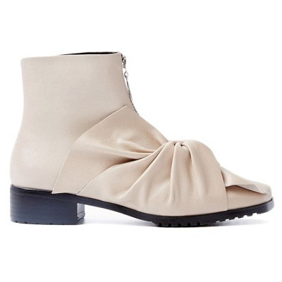 Zipper Bow Pointed Toe Ankle Boots