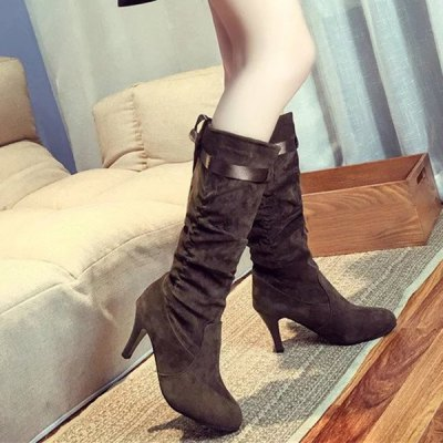 Ribbon Mid Calf Boots