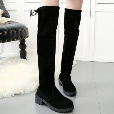 Low Heel Thigh Boots