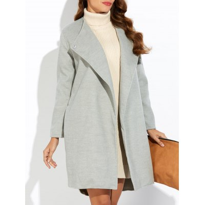 Side Slit High Low Woolen Coat
