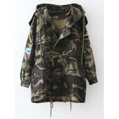 Embroidered Patched Camo Utility Coat
