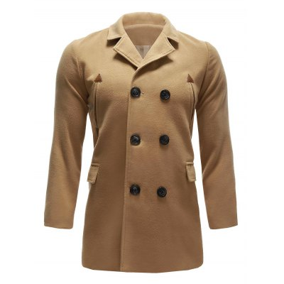 Back Vent Wool Blend Pea Coat