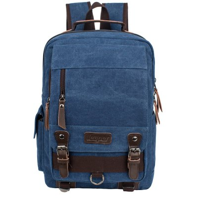 Zippers Double Buckle Colour Spliced Backpack