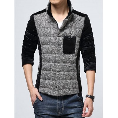 Pocket Stand Collar Texture Insert Padded Jacket
